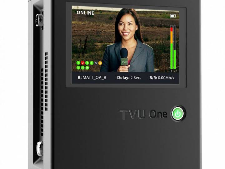TVU One is a live mobile IP newsgathering transmitter with integrated HEVC compression.