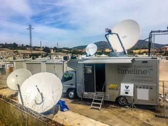 Timeline's RF1 uplink truck features dual uplink dishes that support production of ITV