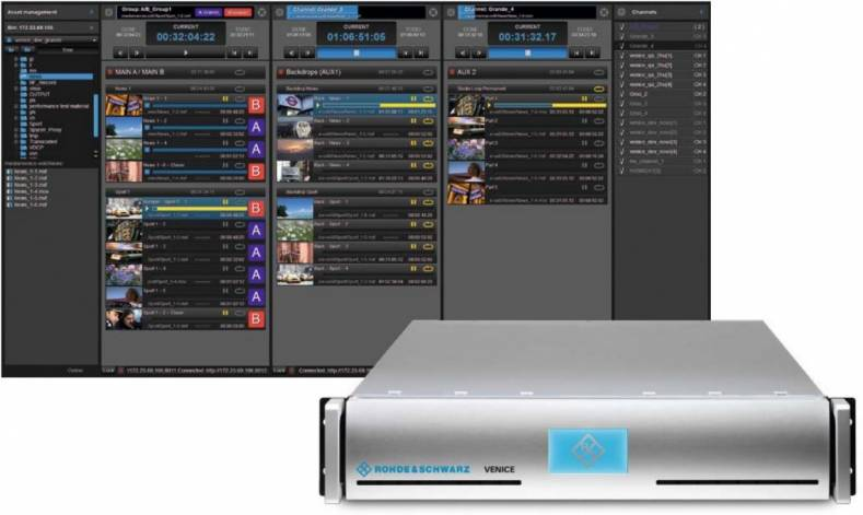 The VENICE and VENICE 4K ingest and playout platform will be demonstrated at the Rhode & Schwarz exhibit.