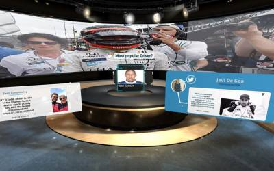OnMedia uses data from social media as content for on screen 3D graphics.