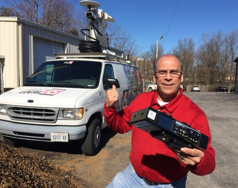 Chad Darnall, Assistant Chief Photographer at WPSD Local 6 holds a new AVIWEST DMNG Pro.