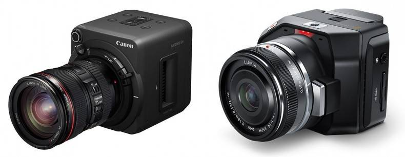 The Canon ME200 and Blackmagic Micro Cine cameras are typical examples of cube cameras. The small footprint is ideal for use on drones.