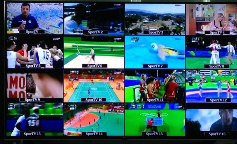 SporTV menu screen displaying 16 channels of available content made finding the events easy. Click to enlarge.