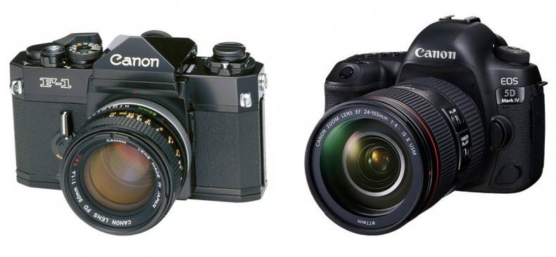 The DSLR is still fundamentally similar to classic film SLRs like the Canon F1 shown here (left).