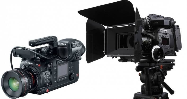 Modern digital cinema cameras can capture wide colour gamut at HDR and high frame rate. Seen here the Canon C700 (L) and Sony F65.