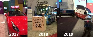 The 2017 ATSC 3.0 Central Hall lobby pavilion featured a bright red Ferrari. Last year it featured a cool self-driving shuttle bus. This year's feature was a model railroad going in circles.