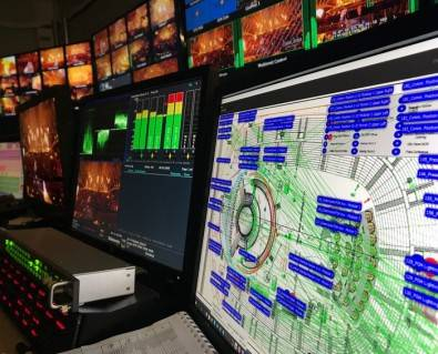 Riedel MediorNet display screen next to production monitors in Videohouse OB truck. Click to enlarge.  Image: Ralph Larmann