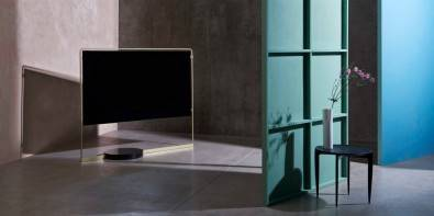 German electronics brand Loewe, just unveiled a new OLED television set— dubbed Bild X that could make a TV display the design focal point of a living room. Click to enlarge.