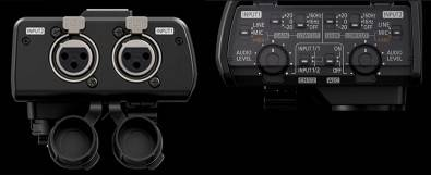 The hotshot-mounted XLR audio inputs (option).