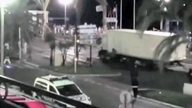 Frame from live video captured by cell phone of truck during July terrorist attack in Nice, France