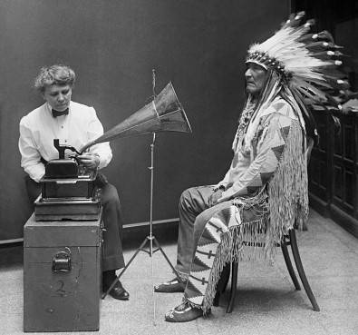 Chief of the Blackfoot Tribe being recorded in 1910.