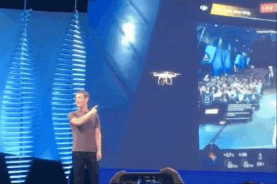 Facebook Live streamed from DJI drone at F8 conference. Image: Verge