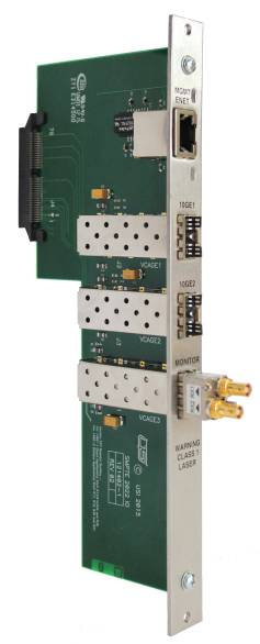 Utah Scientific offers a family of IP gateway input and output cards that provide two-way conversion of SDI video signals and SMPTE-2022 signals over a 10G Ethernet connection.