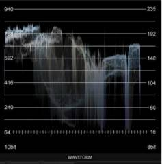 The built-in waveform monitor in the NewTek TriCaster Mini HD-4 displayed too much information and was difficult to read at a glance.