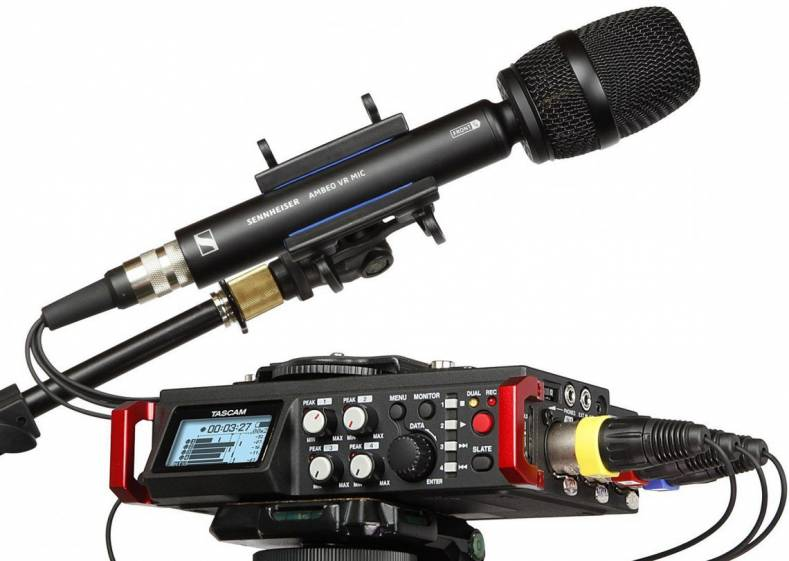 The Tascam DR-701D recorder, when paired with Sennheiser's four-channel AMBEO VR microphone, provides full immersive sound recording.
