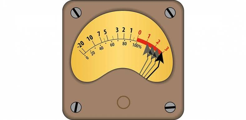 Vu meter with bent needle