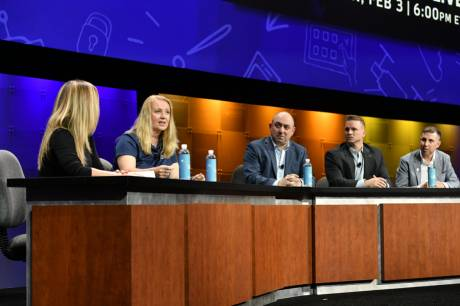 A panel discussion at NAB brought together top media organizations to discuss their use of the cloud. Photo: Robb Cohen Photography & Video.