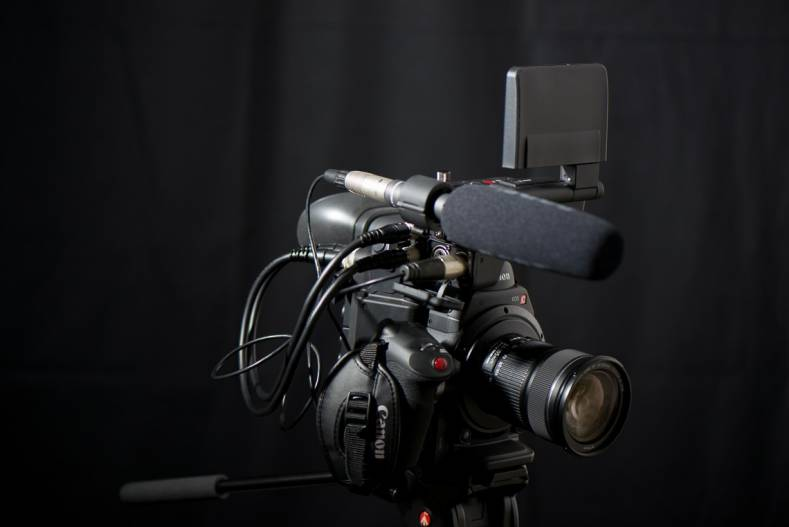 The Canon C300 mark II includes an separate audio interface/monitor screen, with flexible mounting options