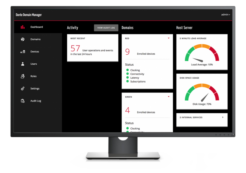 Dante Domain Manager dashboard.