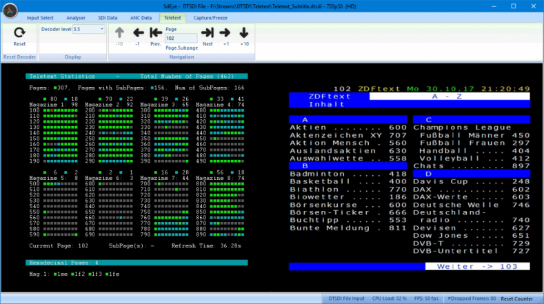 Teletext analysis and decoding in DekTec SdEye.