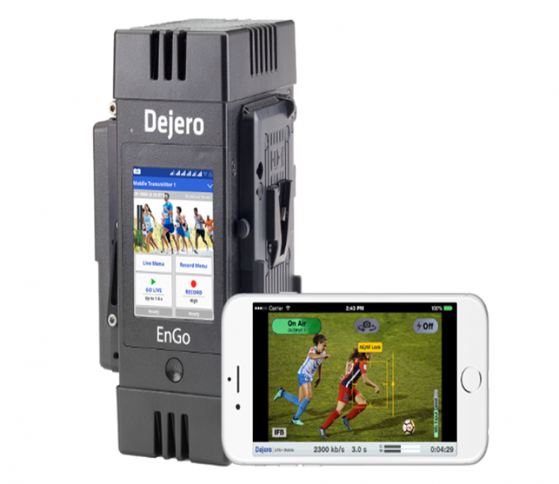 Dejero EnGo mobile transmitter and mobile app.