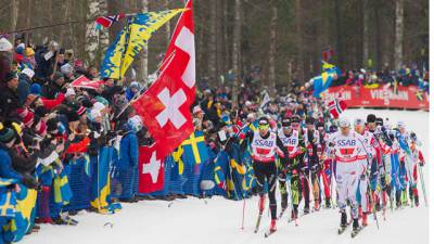 "2015 FIS Nordic World Ski Championship coverage went ""beyond skiing"" on TV. Shown, 4 x 10 km relay men - Falun 2015"