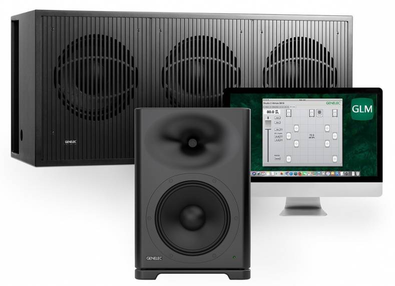 Genelec  two-way S360, and the 7382 subwoofer shown with the GLM software.