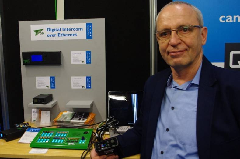 Silvio Cibien with the Green-GO Ethernet intercom system on the Canford stand at BVE 2016 (photo: Kevin Hilton).