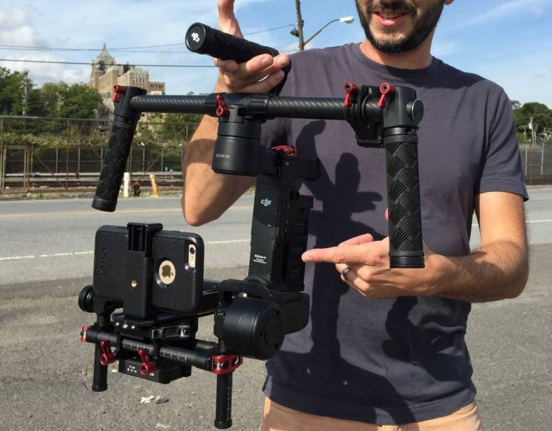 There is now a wide range of cell phone stabilizing technology available. Shown is a DJI Ronin-M 3-Axis Handheld Gimbal Stabilizer.