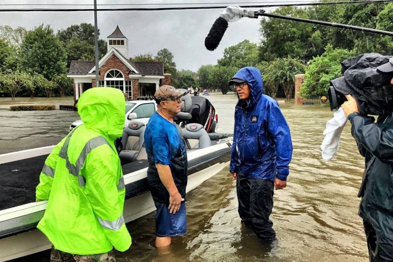 NBC News' Lester Holt covers Hurricane Harvey. Photo GQ Magazine.