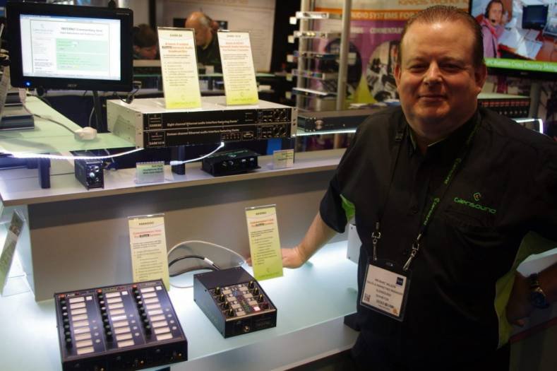 Glensound sales and marketing manager Marc Wilson with the Paradiso and Inferno Dante commentary units.