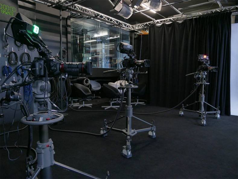 Studio floor at Okto TV with Blackmagic URSA Mini cameras.