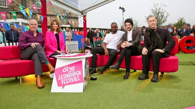 BBC Edinburgh Festival. L-R,  Jack Docherty, Alex Jones, Alan Cumming, Charles Venn, Colin Cloud. ©BBC 2016