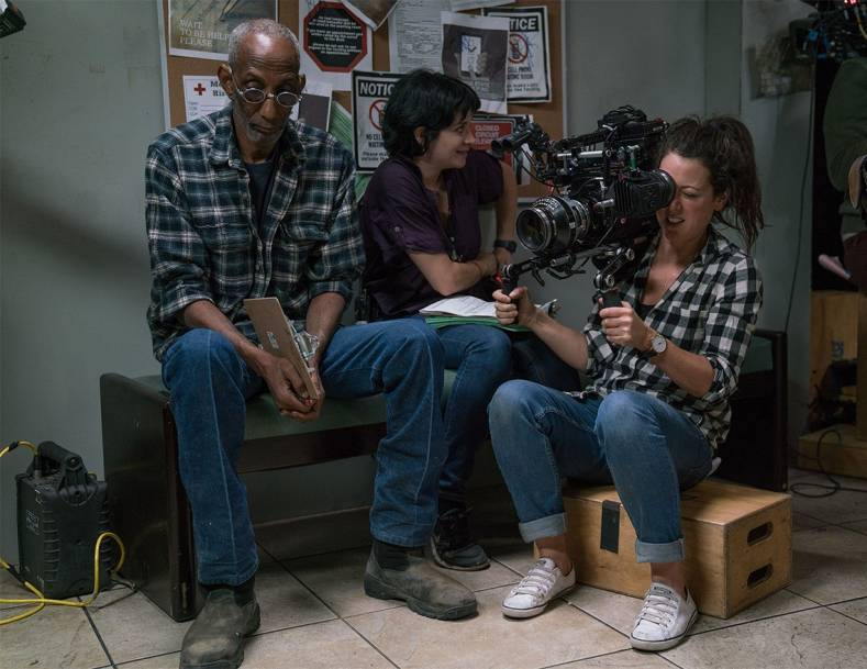 Polly Morgan on set with the VariCam 35.