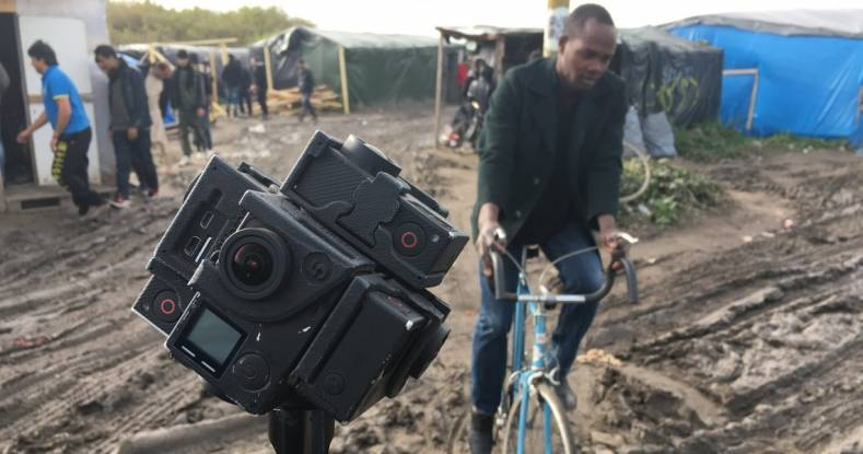 "The AP has experimented with 360-degree VR cameras for projects like ""Seeking Home: Life inside the Calais migrant camp"" news documentary."