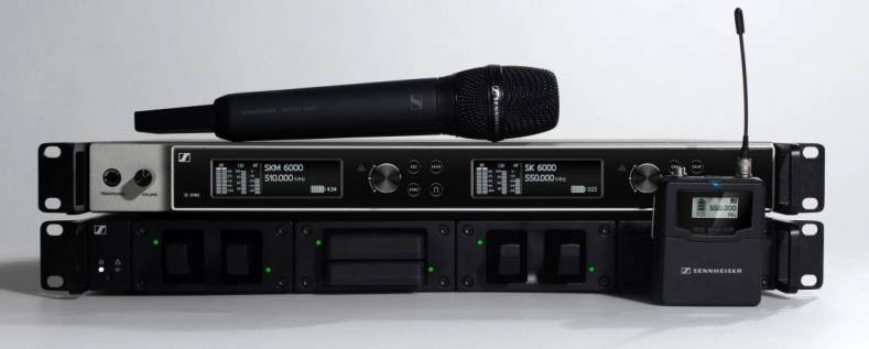 Sennheiser's Digital 6000 wireless mic system, now compatible with Dante Domain Manager.