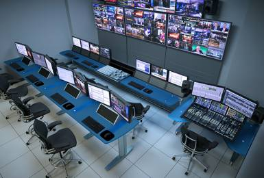 TBC consoles, audio control room.