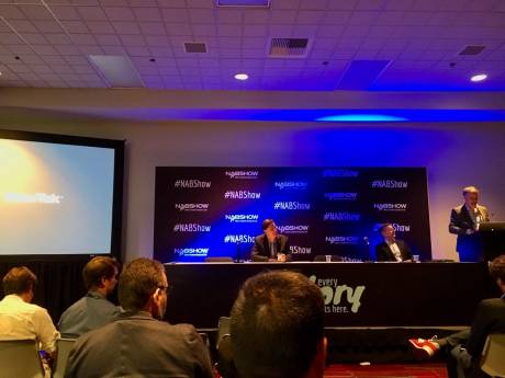 Vizrt press conference at NAB 2019. CEO Michael Hallen at podium.