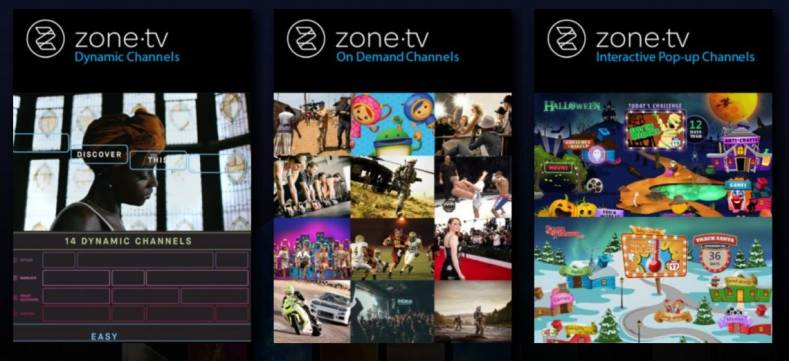 ZoneTV produces 14 channels of content assembled by artificial intelligence-based content selection.