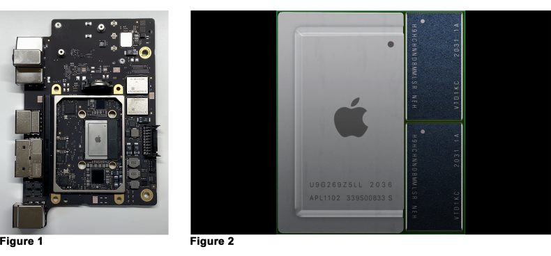 Figure 1: An open Apple M1Mac Mini.  <br />Figure 2: RAM within an M1 Chip.