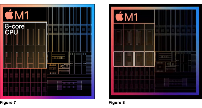 Figure 7: M1 has 8 computation cores.<br />Figure 8: 4 M1 high-efficiency CPU cores.