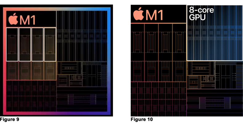 Figure 9: M1 4 high-performance CPU cores.<br />Figure 10:  M1 8 GPU cores.