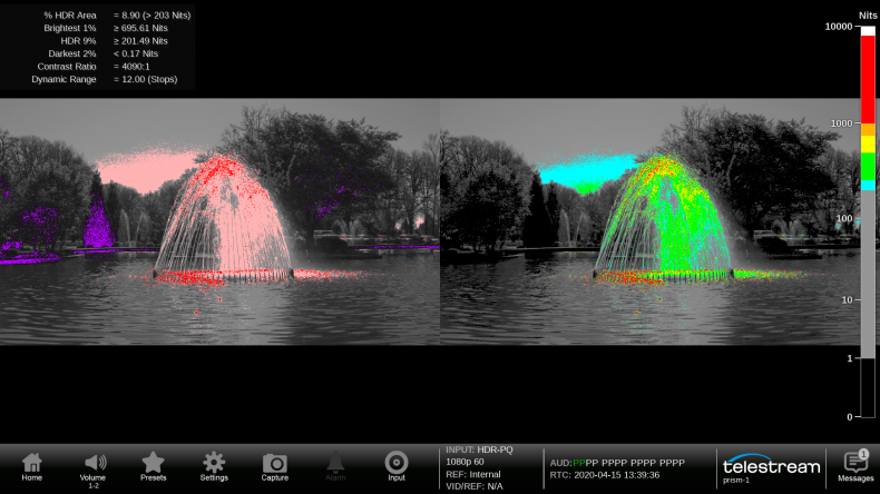 Tektronix display showing false color mode to show out of gamut colors.