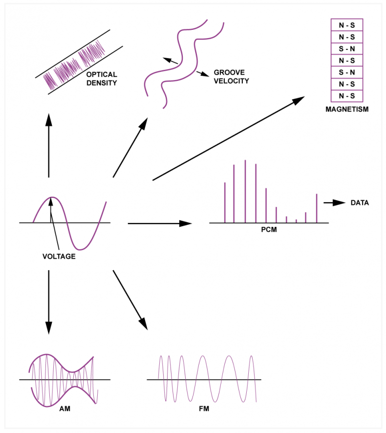 Fig.1. The various analogs used to preserve an audio waveform. One of the most successful analogs is to express the waveform using a series of numbers.
