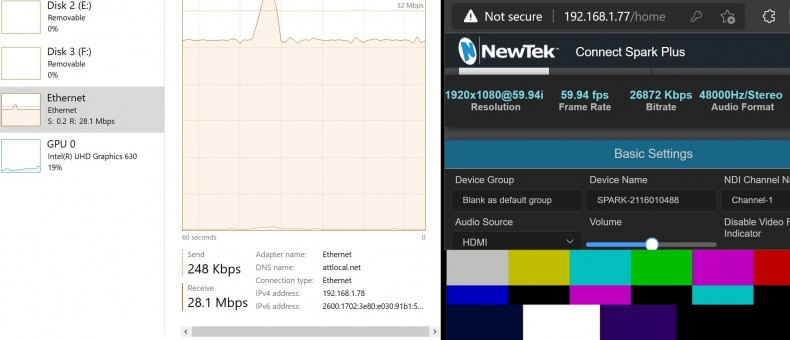 1080i bars and tone produced a 26.87 Mbps Bitrate at the Spark UI, and indicated 28.1 Mbps Ethernet activity in Task Manager.