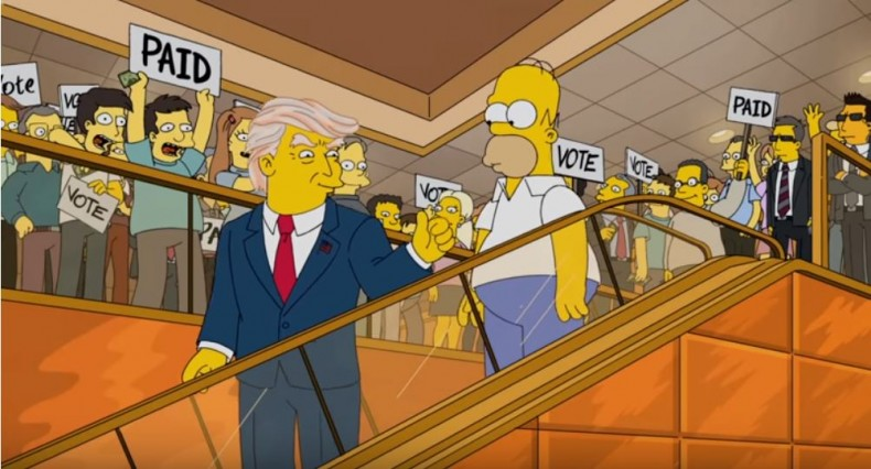 Audiences use social media trends to select shows. A YouTube clip about a year 2000 episode of The Simpsons, which predicted a Donald Trump victory as President, generated 1.5 million views in nine months. Image: YouTube, The Simpsons.
