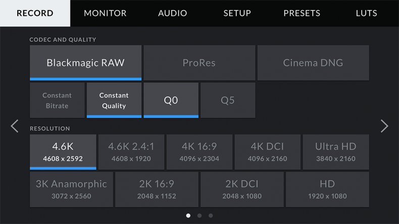 The record menu from the Blackmagic Ursa Mini Pro showing the RAW settings.