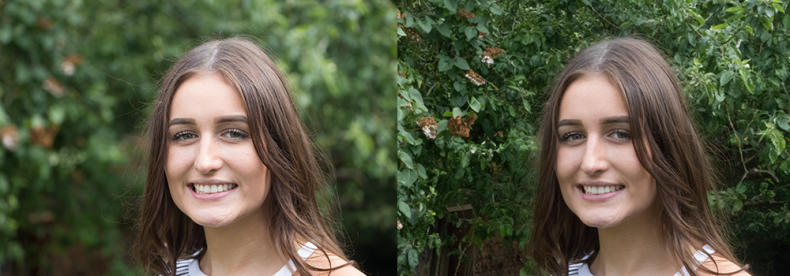 Diagram 1 – Both of these pictures were taken on the same camera. The picture on the left has an aperture of f-5.6 and gives a shallow depth of field drawing the attention to the face. The picture on the right has an aperture of f-36 with a deep depth of field and keeps the background in focus encouraging the eye to move over the image.