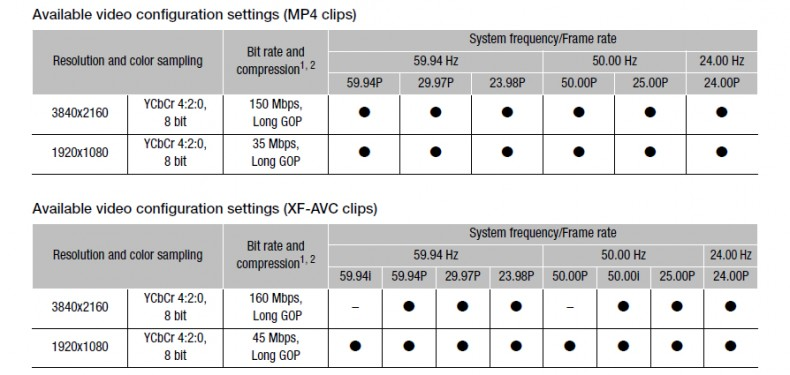 Figure 9: MP4 and XF-AVC Recording Options. Click to enlarge.