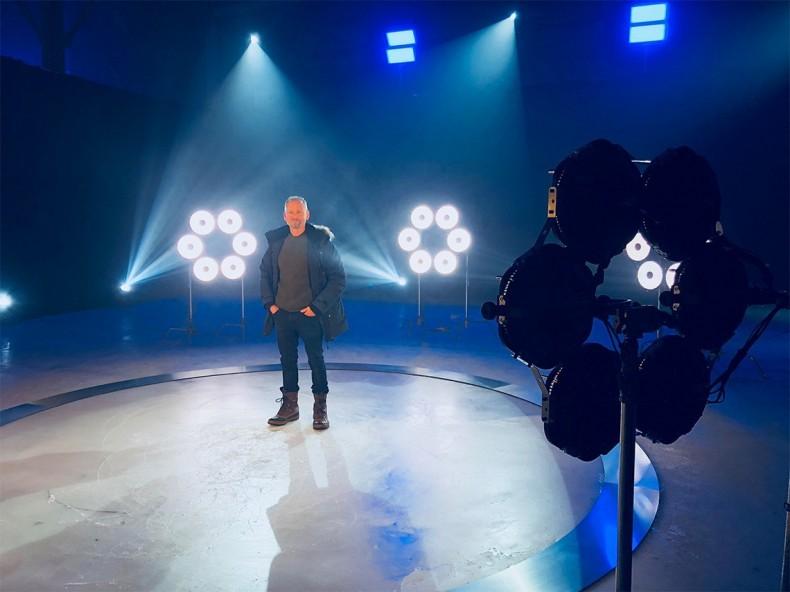 DP Chris Yacoubian on set with Rotolight Anova LED fixtures.